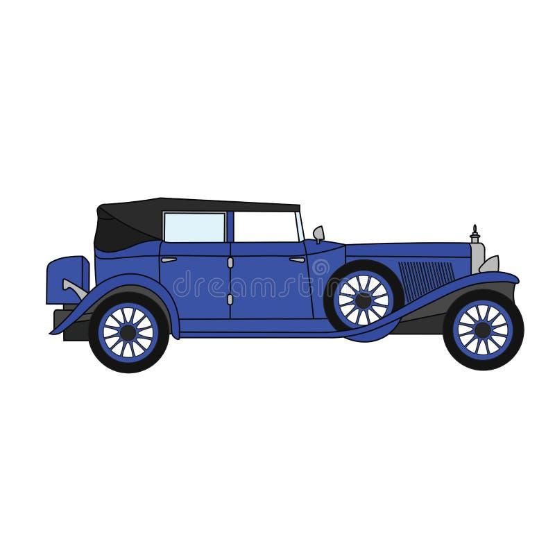 Старый ретро автомобиль с откидным верхом автомобиля иллюстрация штока
