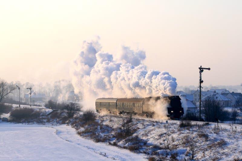 старый ретро поезд пара стоковое изображение rf