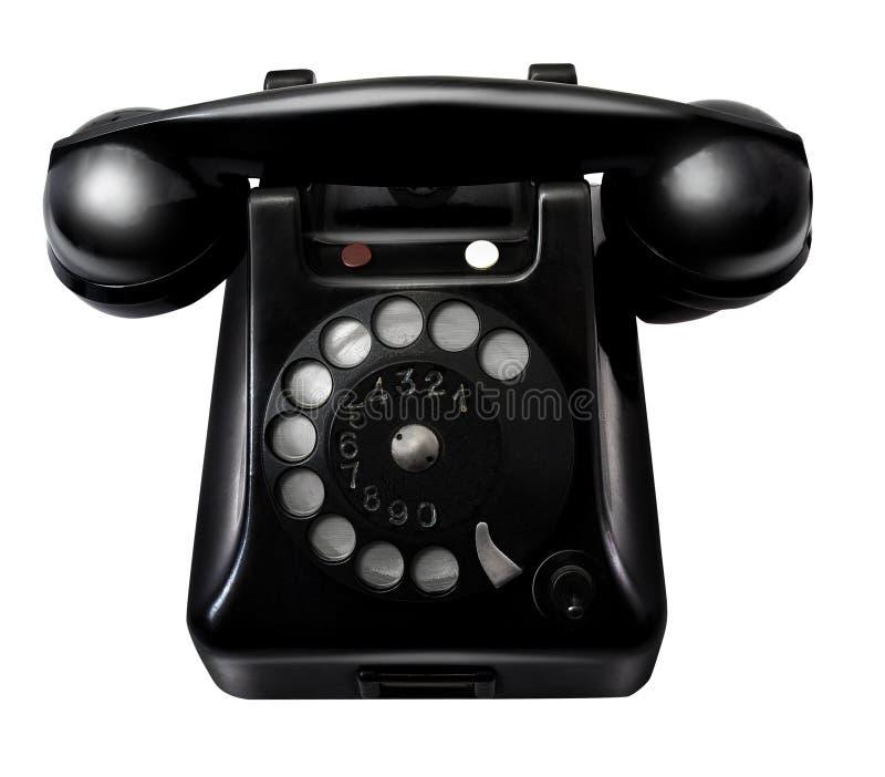 Старый ретро черный телефон стоковые изображения