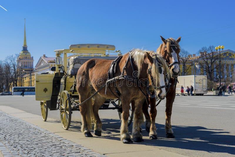 Старый ретро экипаж перед музеем обители Зимнего дворца на квадрате дворца в Санкт-Петербурге, России Историческая старая стоковые фотографии rf