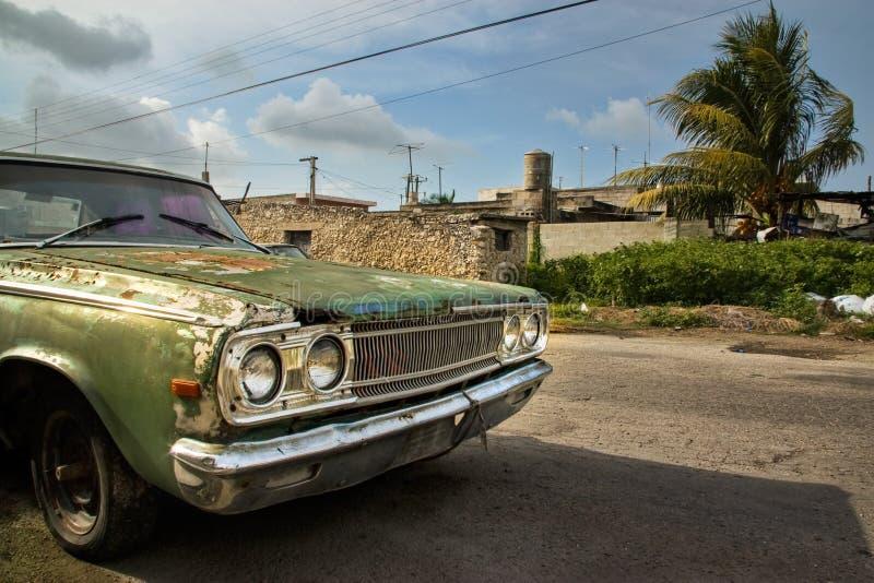 Старый ржавый увяданный зеленый автомобиль стоковые фото