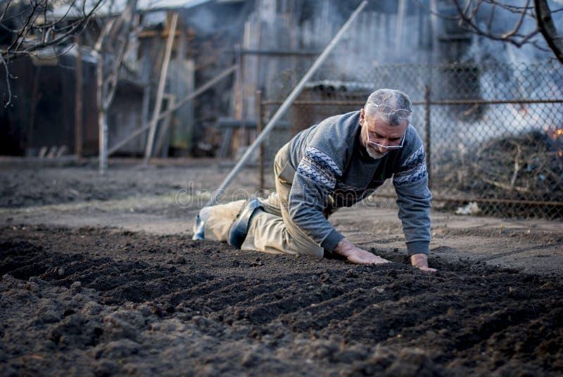 Старый румынский человек работая его земля в традиционном пути с пустыми руками стоковое фото rf
