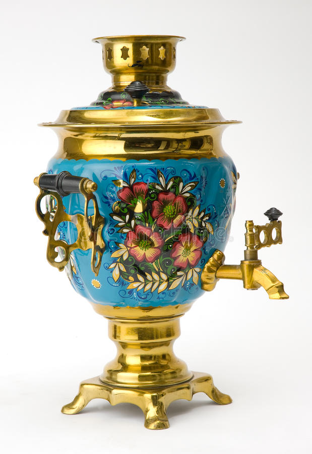 старый русский чайник samovar стоковое изображение rf