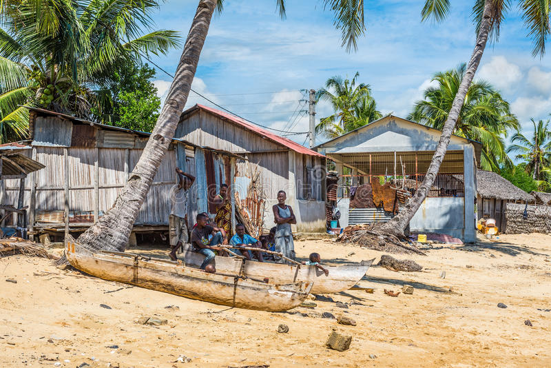 Старый рыбацкий поселок Мадагаскара стоковая фотография