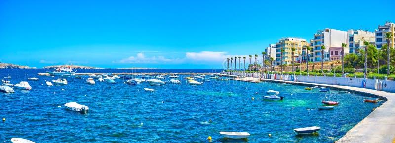Старый рыбный порт в сердце Bugibba, Мальты стоковые фото
