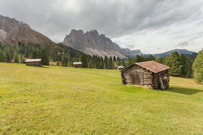 старый сеновал в выгоне в di Funes Val на доломитах падения стоковые изображения
