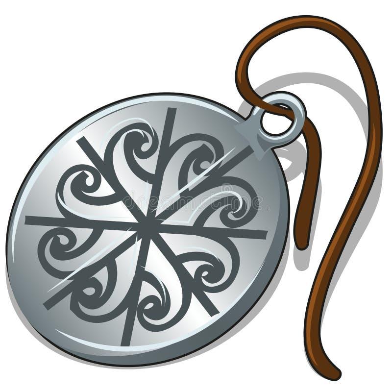 Старый серебряный шкентель с славянским символом изолированный на белой предпосылке Иллюстрация конца-вверх шаржа вектора иллюстрация вектора