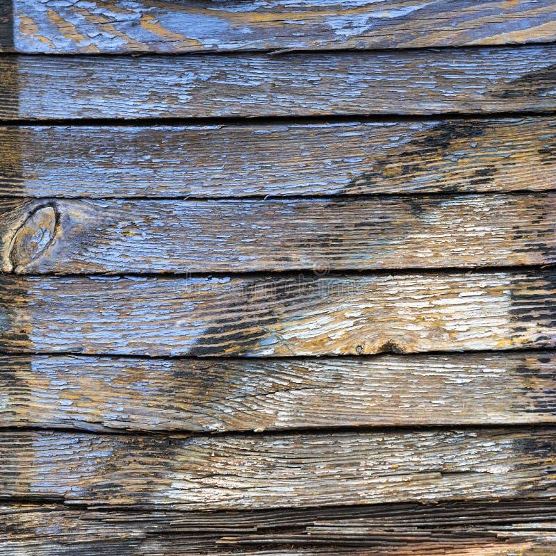 Старый Синий И Желтый Цвет На Грязной Деревянной Поверхности стоковые изображения rf