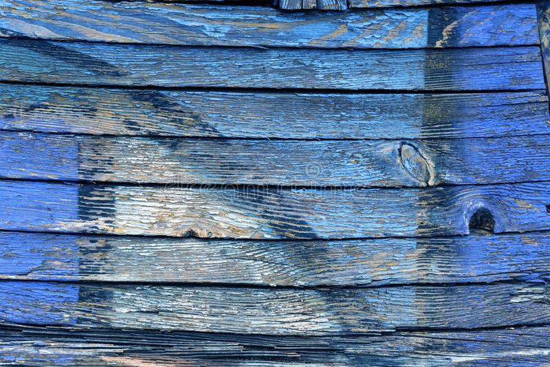 Старый Синий И Желтый Цвет На Грязной Деревянной Поверхности стоковая фотография