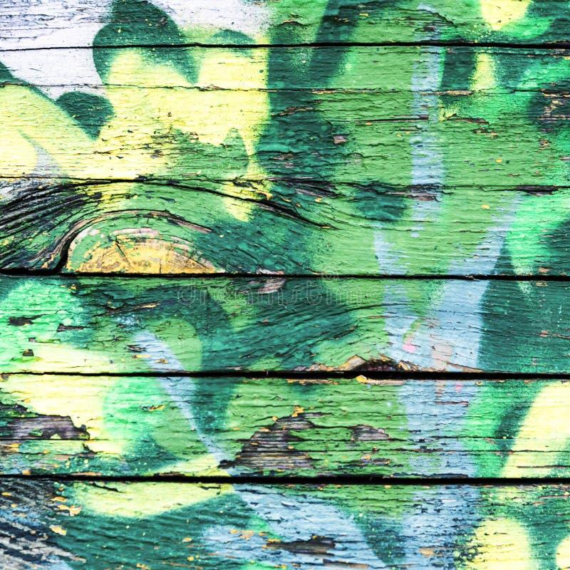 Старый Синий И Желтый Цвет На Грязной Деревянной Поверхности стоковые изображения