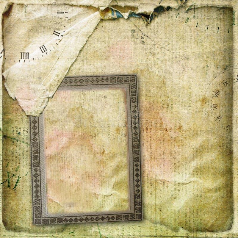 Старый скомканный альбом страницы винтажный с открытками бесплатная иллюстрация