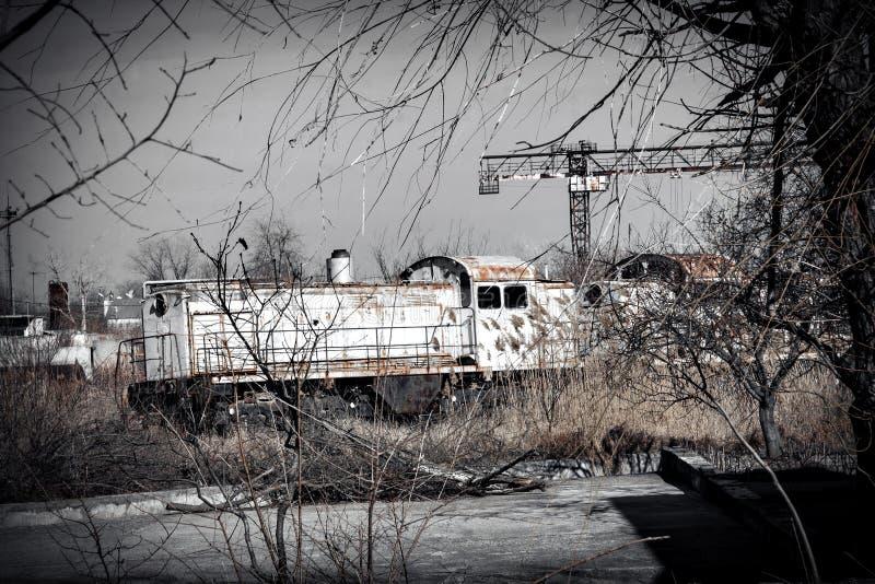 Старый советский локомотивный поезд стоковая фотография