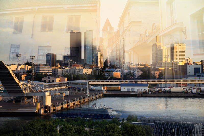 Старый Таллин и современный город стоковая фотография rf