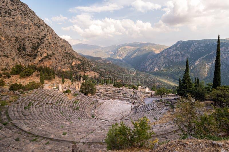 Старый театр в Дэлфи, Греции стоковое фото