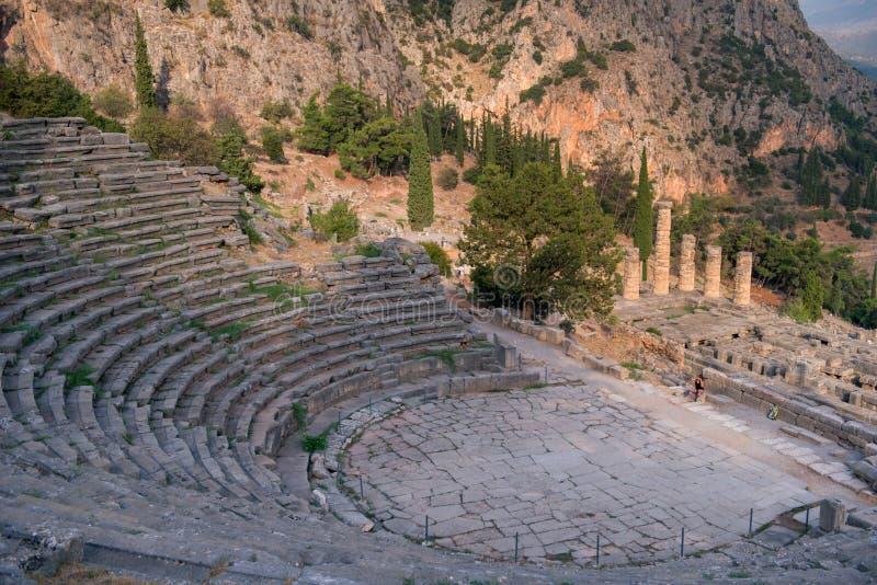 Старый театр в Дэлфи, Греции стоковая фотография rf