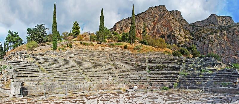 Старый театр в Дэлфи, Греции стоковые изображения