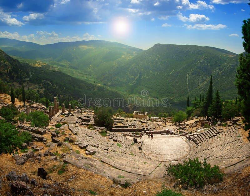 Старый театр Дэлфи в Греции стоковое изображение rf