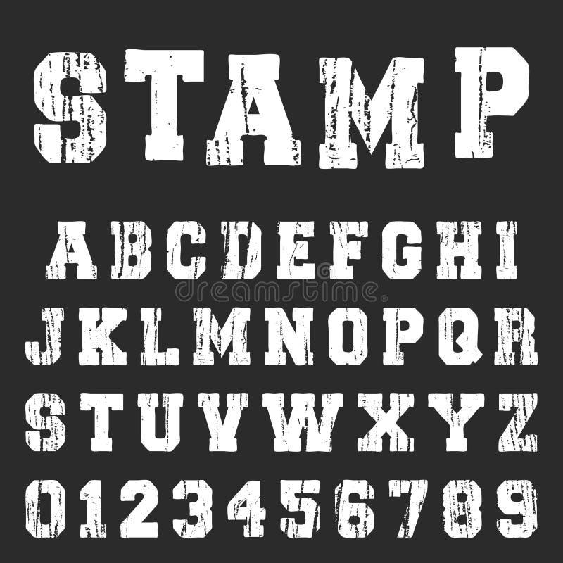 Старый текстурированный шаблон шрифта алфавита бесплатная иллюстрация