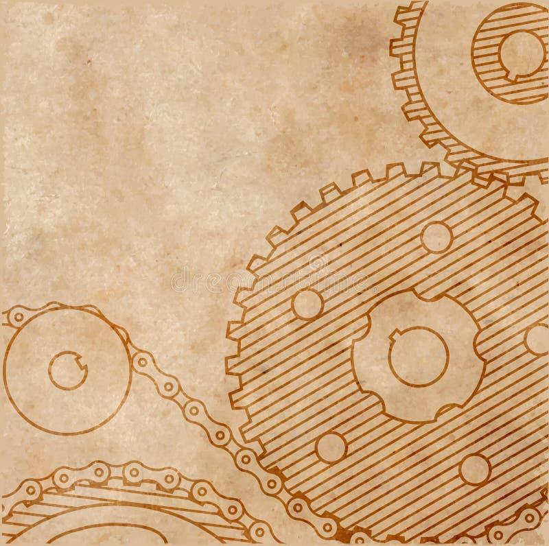 Старый технический чертеж шестерней на бумаге в стиле grunge иллюстрация штока