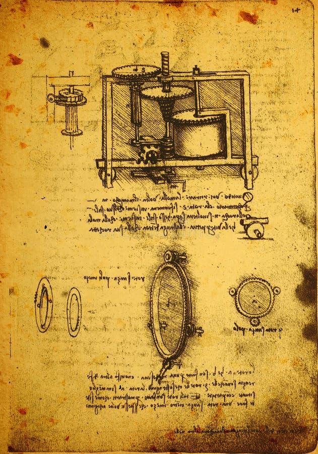 Старый технический чертеж бесплатная иллюстрация
