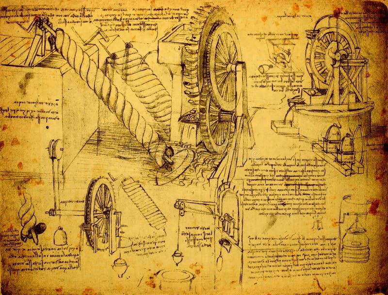 Старый технический чертеж иллюстрация штока