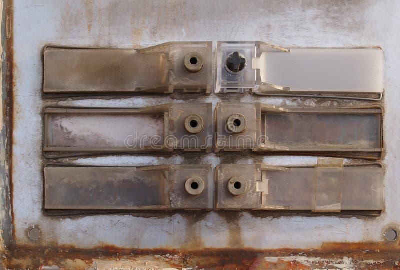 Старый телефон дверного звонка стоковые изображения rf
