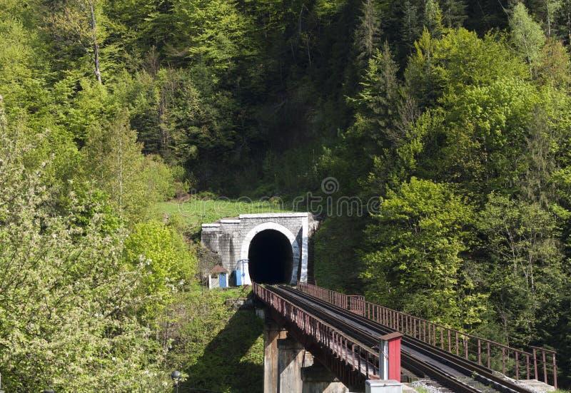 Старый тоннель кирпича в фото гор стоковое изображение rf