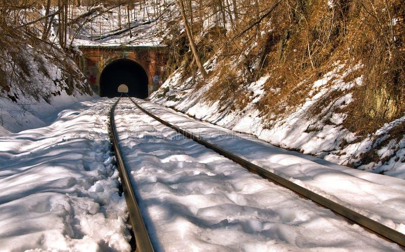 Старый тоннель поезда в снеге стоковые фото