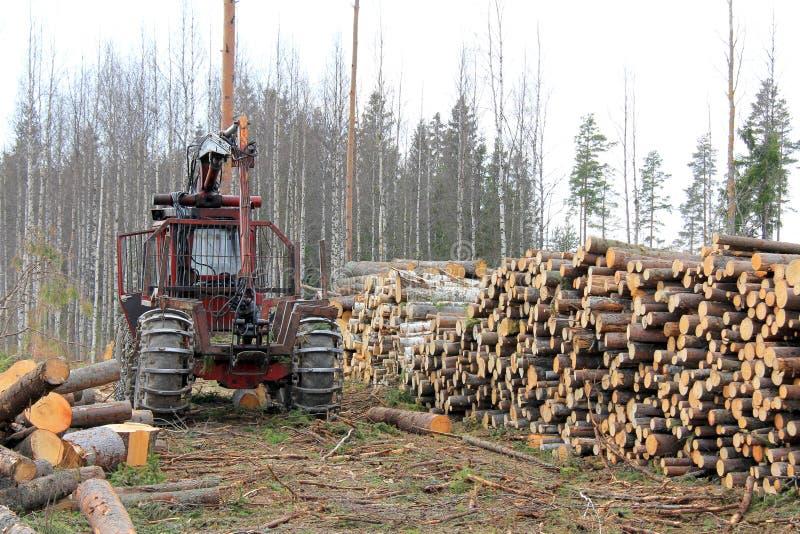 Старый трактор лесохозяйства на месте предыдущей весны внося в журнал стоковые фотографии rf
