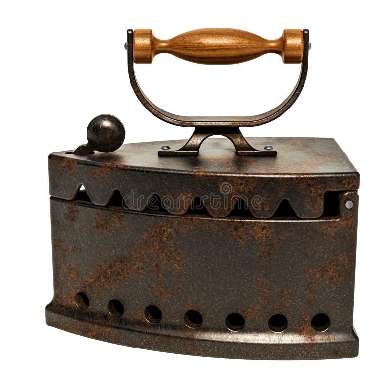 Старый утюг коробки угля с деревянной ручкой перевод 3d иллюстрация штока