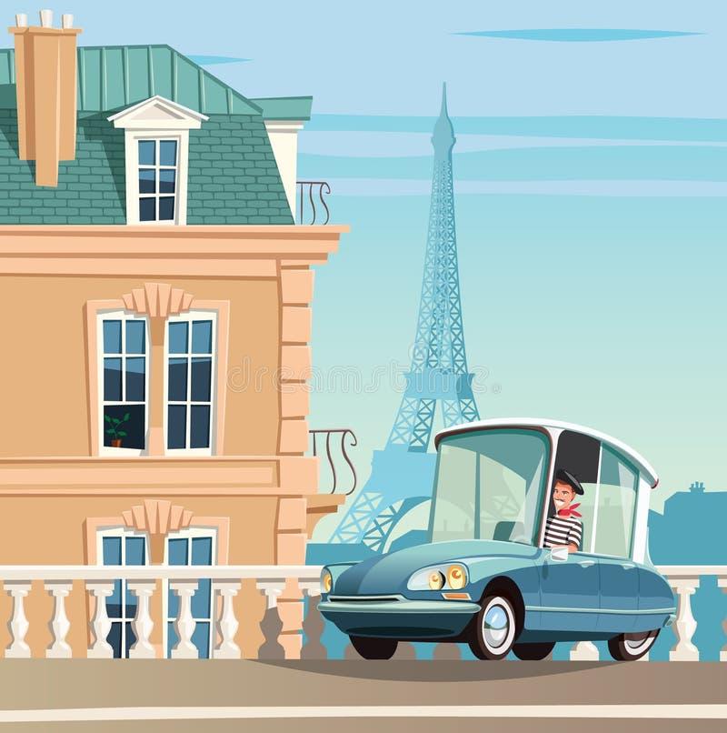 Старый французский автомобиль на улицах Парижа и Эйфелева башня в предпосылке иллюстрация штока