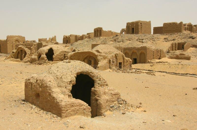 Христианский коптский некрополь на al-Bagawat стоковая фотография rf