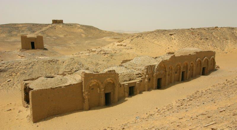 Христианский коптский некрополь на al-Bagawat стоковые фотографии rf