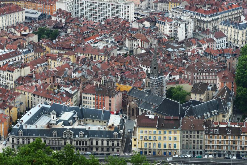 Старый центр Гренобля, увиденный от горы Bastilla, Франция стоковое изображение