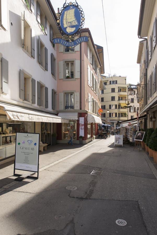 Старый центр Vevey, Швейцарии стоковое изображение