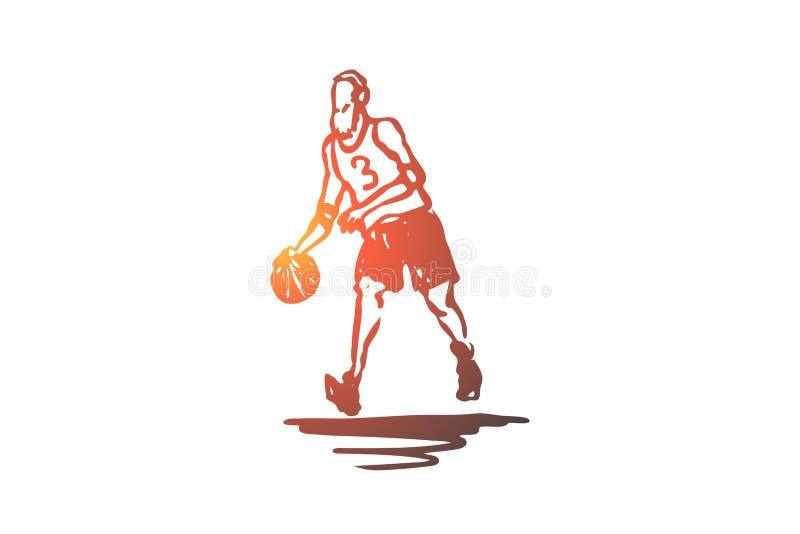 Старый, человек, игра, баскетбол, концепция деятельности Вектор нарисованный рукой изолированный бесплатная иллюстрация