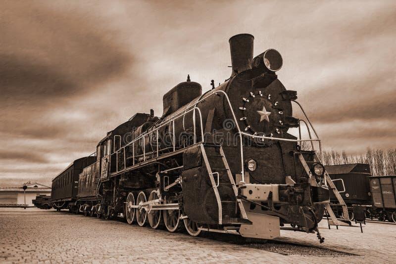 Старый черный локомотив стоковое изображение rf