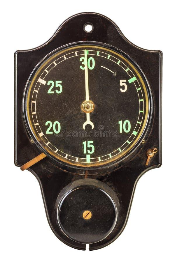 Старый черный мельчайший таймер изолированный на белизне стоковая фотография rf