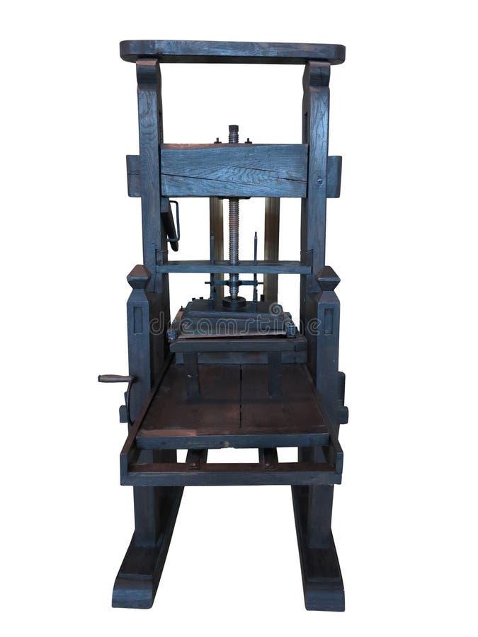 Старый черный letterpress изолированный на белой предпосылке стоковое фото