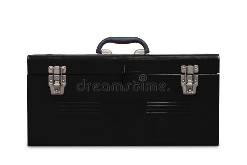 Старый черный toolbox стоковая фотография rf