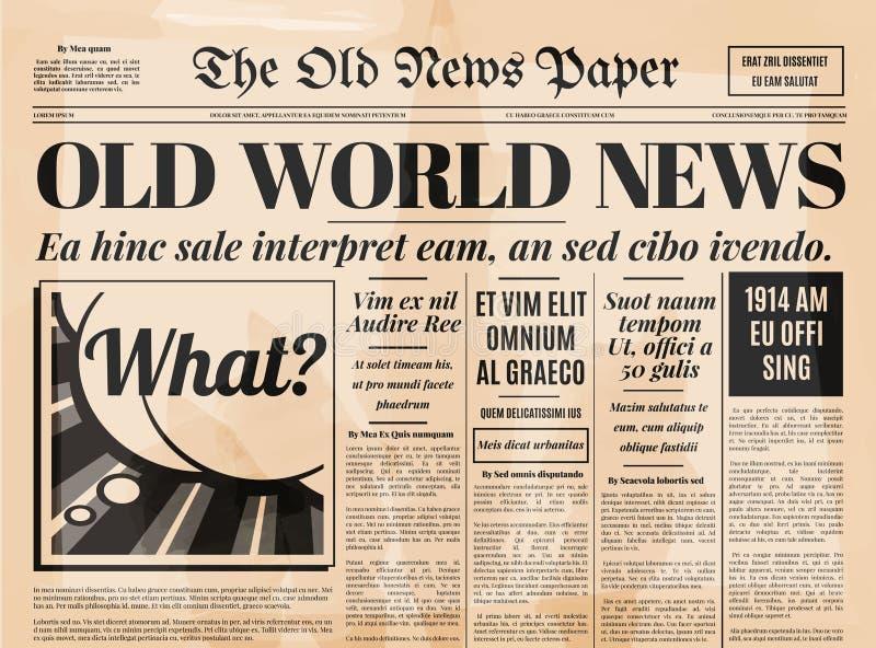 Старый шаблон вектора дизайна газеты иллюстрация вектора
