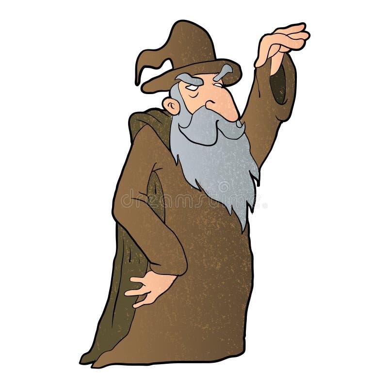 Старый шарж волшебника иллюстрация вектора