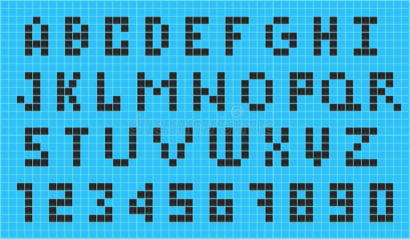 Старый шрифт пиксела видеоигры иллюстрация вектора