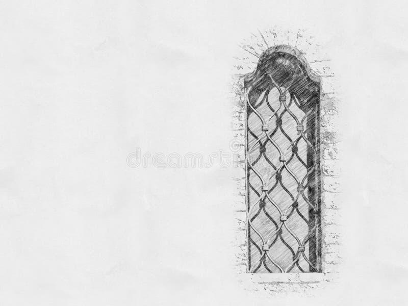 Старый эскиз окна замка бесплатная иллюстрация