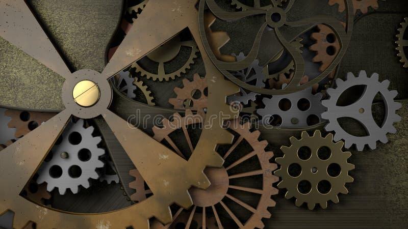 Старый Clockwork с много cogwheels иллюстрация вектора