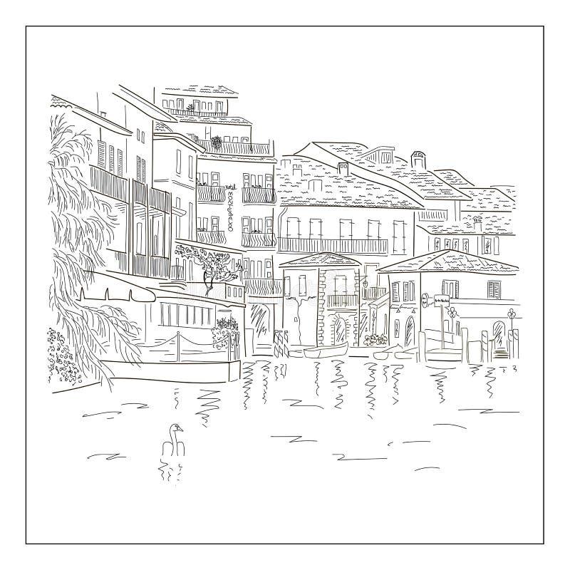 Старый europian городок на озере Эскиз нарисованный рукой бесплатная иллюстрация