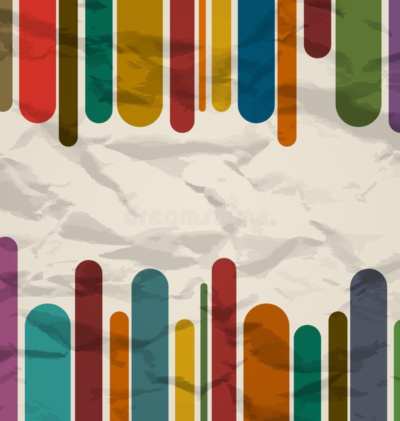 Старый striped шаблон, цветастая предпосылка год сбора винограда иллюстрация вектора