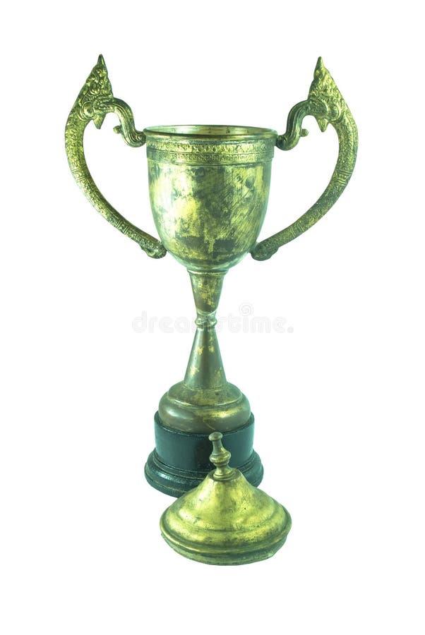 Старый tarnished трофей изолированный против белой предпосылки стоковые фотографии rf