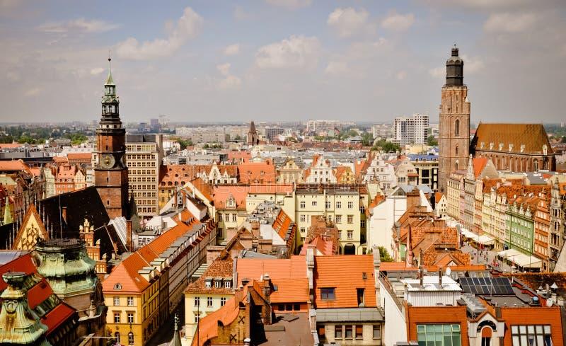 старый wroclaw городка панорамы стоковое фото rf
