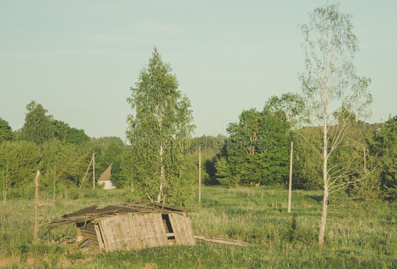 Старым коллективное хозяйство покинутое Советом стоковое фото rf